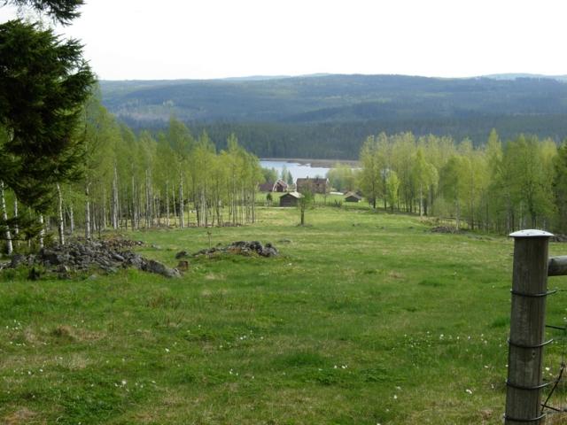 Finngården Rikkenstorp utanför Grängesberg. Vandrar man upp på höjden ovanför gården så långt man kan, bjuds man denna utsikt med ett mjukt böljande landskap, gröna skogar, blått i fjärran, vattenspegel, fritt och luftigt. Det är finnmarken. Foto ChL.