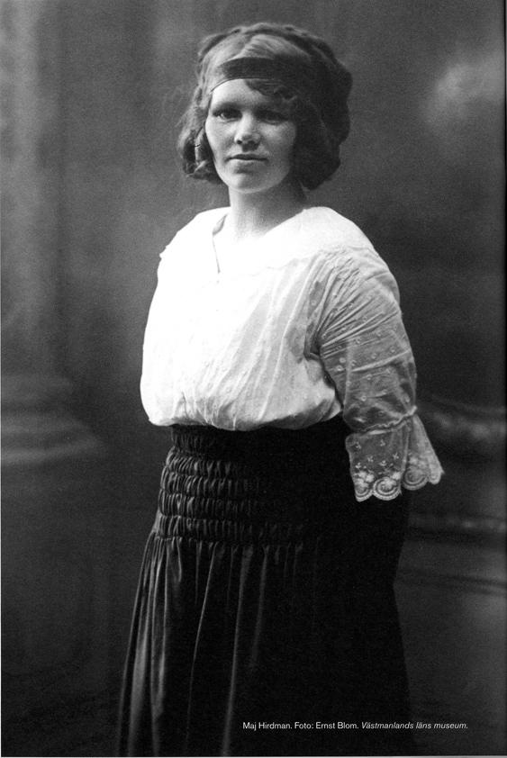 Maj Hirdman (1888-1976) växte upp i Norberg. Hennes föräldrar brevväxlade i flera år under de perioder de tvingades att leva åtskilda pga arbete på annan ort. Foto Ernst blom. Västmanlands läns museum.