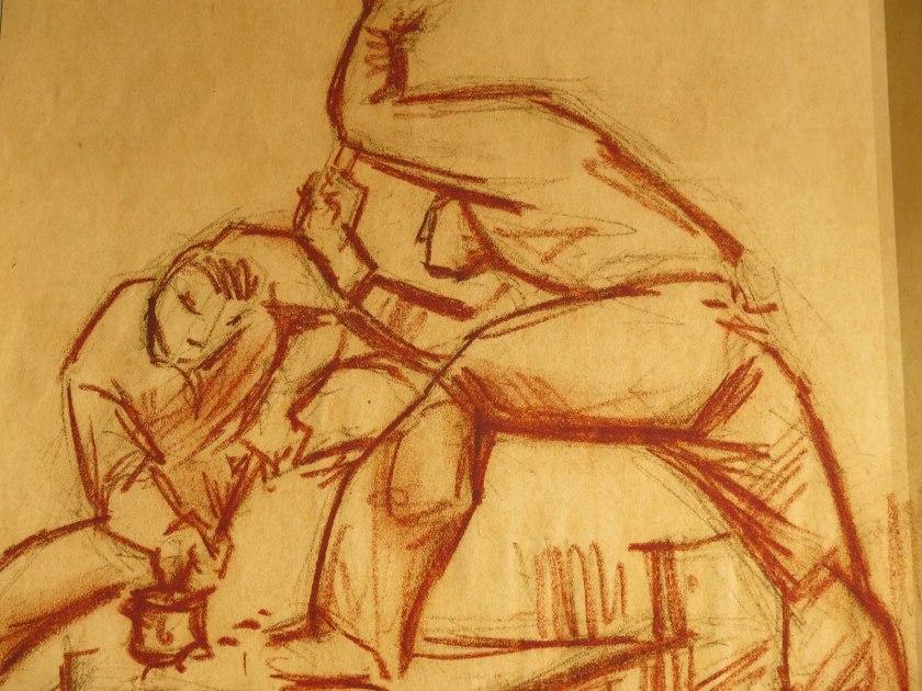 Tecklning i rödkrita av Johan Ahlbäck